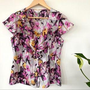 Silk floral print top